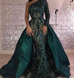 Wholesale Sequined One Shoulder Evening Dress - Hunter Green Sexy One Shoulder Long Sleeves Mermaid Prom Dresses 2018 New Sparkly Sequins Evening Gowns With Satin Overskirt Pageant Wear
