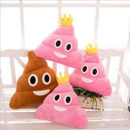 Wholesale Wholesale Stuffed Animal Fabric - New 35cm emoji plush toys Pillow Cushion cartoon 14 inches Poop Stuffed Animals Pillows dolls crown pink rainbow color