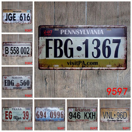Wholesale Vintage Hawaii - Lincoln Texas Alabama Hawaii New Jersey vintage Nostalgia metal tin sign souvenir license plates retro number plate metal craft