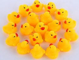 Wholesale Swiming Baby - Free Shipping Baby Bath Water Duck Toy Sounds Mini Yellow Rubber Ducks Bath Small Duck Toy Children Swiming Beach Gifts