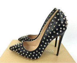 Wholesale Bronze Pumps Shoes - New Luxury Brand RED BOTTOM High Heels Black Rivet Point With Shallow Mouth Women's Dress Shoes Fashion Spikes Pumps 8 10 12CM