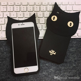 Wholesale Cute 3d Cartoon Silicon - Original Silicone cartoon phone case soft silicon 3D rubber Cute Black cat case for iphone 7 6 6s plus 5 SE Back Cover Lovely