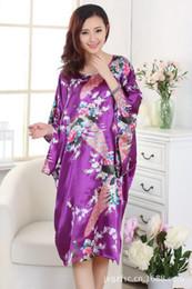 Wholesale Traditional Chinese Silk Dresses - Wholesale- Novelty Purple Traditional Chinese Women Silk Nightgown Rayon Kimono Yukata Bath Gown Loose Home Dress Sleepwear Oversize A118