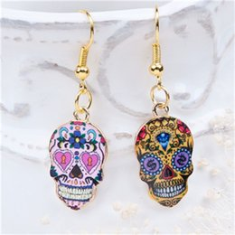 Wholesale New Fashion Earrings Gold Plated Multicolor Halloween Sugar Skull Pattern mm quot x mm quot Pair