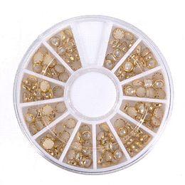 Wholesale 3d Diy Nail Art Pearl - 1pcs Nail Art Wheel Decoration 3D White Multi-Color RhinestoneTips Pearl Manicure For Women Nails DIY Tools