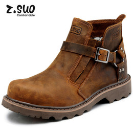 Wholesale Wide Heeled Boots - New Z.suo Handmade Cowhide Genuine Leather Men Martin Ankle Boots Working Boots Platform Buckle Fashion Men's Work Safety Boots,Size:39-44