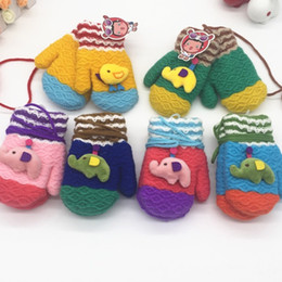 Wholesale Crochet Baby Novelty - Children Winter Cartoon Stuff Knitted Mittens Double Packs Baby Thickening Bags Of Lanyard Sets Of Kids Warm Crochet Gloves 6 Colors
