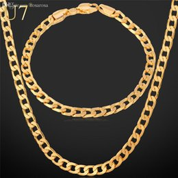 "Wholesale Gold Cuban Chain Stamped - Wholesale-Gold Necklace Set With ""18K"" Stamp 2015 New Trendy Gold Plated Cuban Link Chain Necklace Bracelet Party Men Jewelry Set"