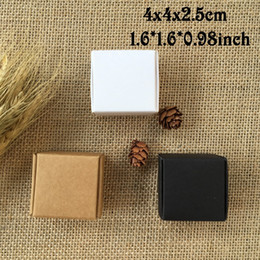 Wholesale Handmade Stamped Jewelry - 50PCS 4*4*2.5cm White Brown Black Mini Kraft Paper Cartons Box Ring Jewelry Packing Box Wedding Gifts for Guests Candy Box