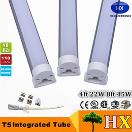 Wholesale T5 Led Base - Ultra bright LED T5 led tube 96pcs SMD2835 1200mm 4feets 22W LED tube light fluorescent lamp 85-265V Led tubes T5 base indoor