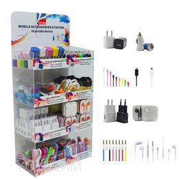 Wholesale Earphone For Apple Iphone - acrylic display box 8 in 1 mobile phone portable accessories use for iphone samsung smartphones with usb charger & cable aux cable earphones