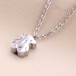 Wholesale Teddy Bear Necklace Pendants - New Fine Jewelry Stainless Steel Mini Teddy Bear Pendant Necklace Fasion Elegant Cute Bear Clavicle Chains Women''s Necklace