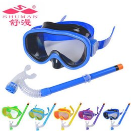 Wholesale Children Snorkel - New Arrival PVC Swimming Scuba Anti-Fog Goggles Mask & Snorkel Set Diving glasses ZD084A