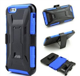 Wholesale Military Duty Hybrid Iphone - Military Hybrid Heavy Duty Cover Defender Case Cover With Kickstand Belt Clip PC iPhone SE 6 6s 6 plus S7 S6 edge Note5