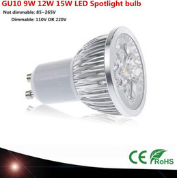 Wholesale Led Cool White E27 - 1pcs Super Bright 9W 12W 15W GU10 E27 E14 GU5.3 LED Bulb 110V 220V Dimmable Led Spotlights Warm Natural Cool White GU 10 LED lamp