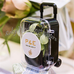Wholesale Suitcase Favor Box - FREE SHIPPING 100PCS Clear Mini Rolling Travel Suitcase Favor Box Wedding Favors Party Reception Candy Package Baby Shower Ideas