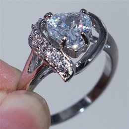 Wholesale Vintage Sapphire - Vintage 18K White Gold Filled Heart Style sapphire Zircon Rings For Women Femme New Arrival wedding rings