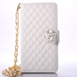 Wholesale Iphone Chain Wallet - Sheep PU Lattice Wallet rose diamond Grid pattern Stand Mobile phone case for samsung Galaxy Note7 with card slots 1.2m Pearl Chain