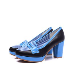 Wholesale Commuter Shoes Women - 17 spring Korean commuter OL stripes match with thick shoes