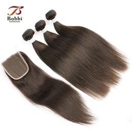 Canada Cheveux raides indiens brun foncé tisse 3 faisceaux avec la couleur de fermeture de dentelle 4 remy cheveux humains libres moyen trois partie fermeture Offre