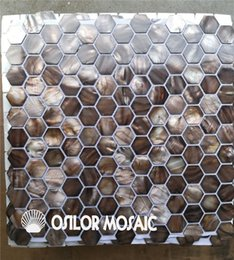 Wholesale Mosaic Tile Backsplash - grey color natural Chinese freshwater shell mother of pearl mosaic tile for backsplash and washroom decoration wall tile hexagon style