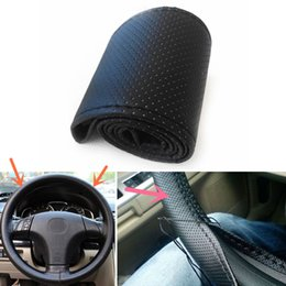 Wholesale Steering Wheel Cover Leather Thread - 10PCS Car Truck Leather Steering Wheel Cover With Needles and Black Thread DIY