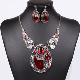Wholesale Chunky Chain Bead Necklace - Women Fashion Jewelry Set Silver Red Chain Bead Pendant Necklace Earring Choker Collar Chunky Stud