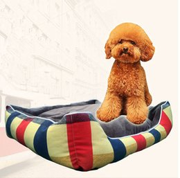 Wholesale Blue Kennel - Red Blue Stripe British Style Warm Pet House Canvas Dog Cat Kennel Soft Washable Pet Dog Cat Nest For Winter M Size Min Order 1PCS