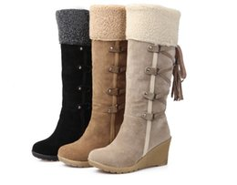 Wholesale Fabric Charm Squares - wholesaler free shipping snow boot factory price wedge heel high tube boots for women hot seller high heel 377