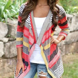 Wholesale Sweater Woman V Neck Striped - Wholesale-Boho Womens Long Sleeve Cardigan Loose Sweater Outwear Knitted Jacket Coat Tops