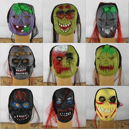 piscar emblemas do pino do natal Desconto Clear Stock Scared Terrifying Máscaras Ghost Face Dead Man Desgaste Uma Peruca Prop Zombies Soft Mask Cores Misturadas