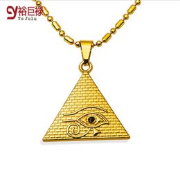 Wholesale Lucky Eye Pendant - New 2016 Hot Star New Products 18k Gold Plated Pyramid Charms Triangle Shape Lucky Evil Eyes Fashion Hip Hop Pendant &Necklace For Unisex