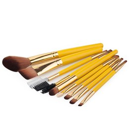 Wholesale top quality makeup kits - Hot new makeup top quality orange handle 9pcs makeup brushes cosmetics foundation powder fan makeup brush tools free shipping