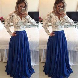 Vestido de mangas espalda descubierta online-Nigerian Lace Styles vestido de noche de manga larga Prom Vestidos Pearls Sash Bare Back A Line Vestidos de noche largos formales Vestidos de noche
