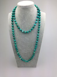 Wholesale Dyed Turquoise Beads - ST0005 8mm Dyed Turquoise Bead Making 42 inch long green stone necklace natural stone beads knotted necklace
