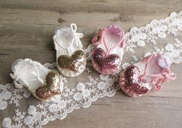 Wholesale Crochet Infant Sandals - Biaies shoes baby girls sequins love heart shoes Infant lace-up bows first walkers Newborn handmade sweater sandals fashion baby gift T5046