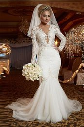Wholesale Tulle Wedding Dress Online - Elegant Pretty Scoop Long Sleeve Lace Wedding Dress Online Mermaid Backless 2016 Bridal Gowns dress free veil