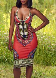 Wholesale Drop Waist Cap Sleeve - Halter Neck High Waist Printed Dress Hot sale casual dresses