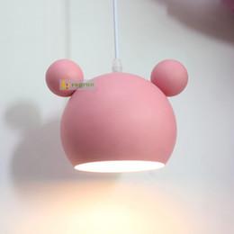 Plafón rosa online-Pink Yellow Girls Color doble de dibujos animados lámparas de techo Simple dormitorio caliente restaurante sala de estar iluminación decoración E27 lámpara colgante