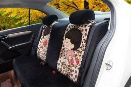 Wholesale Leopard Car Accessories Set - 18pcs new car chair cover cartoon cute women full charter set of four seasons car seat cover Leopard grain