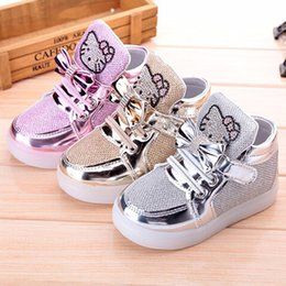 Wholesale Child Shoes Kitty - Children New Hello Kitty Rhinestone Baby Led Girls Princess Cute Shoe Soles With Light Kids Glow Charging Sneakers Child KT Sport Shoe 21-30