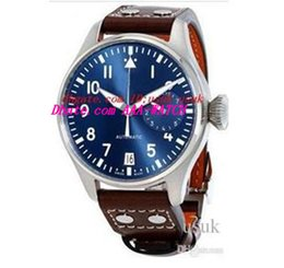 Wholesale leather big watches - Top Quality Luxury Wristwatch Big Pilot Midnight Blue Dial Automatic Men's Watch 46MM Mens Watch Watches.