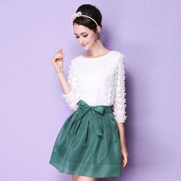 Wholesale Ladies Party Wear Tops - Womens 3 4 Long Sleeve Top Shirt + Bow Tutu Skirt for Ladies Casual Work Party Wear Two Pieces Clothing Set 2016 Spring Autumn New 2 colors