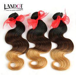 Wholesale Wavy Ombre Weave - 3Pcs Lot 8-30Inch Three Tone Ombre Brazilian Human Hair Extensions Body Wave Wavy 1B-4-27 Black Brown Blonde Ombre Virgin Hair Weave Bundles