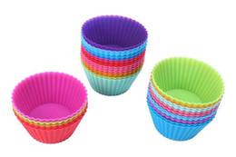 Tazas de muffins online-Gel de sílice Liners Silicone Cup Muffin multicolor pudding jelly cupcake cup Uso repetido