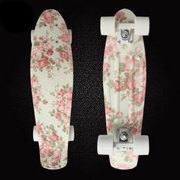 Wholesale Longboard Fish - Wholesale-Free Shipping Retro Skateboard Flowers Printed Mini Board for Outdoor Sport Street Fish board longboard skateboard