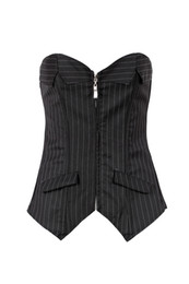 Wholesale Sexy Office Set - Clothes 2015 Sexy Black Pinstripe Corset Skirt Office women Lace up Bustier Suit Costume lady slim set