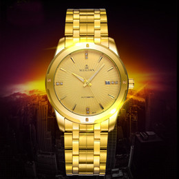 Wholesale Analog Wrist Watch Waterproof Mechanical - WEIGUAN Luxury Automatic Stainless Steel Skeleton Mechanical Watches For Man Gold Wrist Watch Mens Business Watch Waterproof Sport Watch