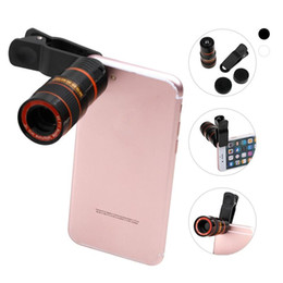 Wholesale Camera Lens Wholesale - 2017 New Universal 8X Magnification Zoom Optical Mobile Phone Telescope Camera Lens With Clip For iPhone 5 6 7 Plus Samsung LG Huawei