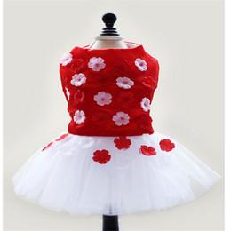 Wholesale Dog Flower Dresses - New arrive fashion 2016 Summer Dog Clothes Pink, red Dog Lace flower Dress Tutu Pet Puppy Dress